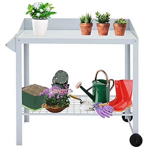 Kintness Outdoor Garden Potting Bench Work Station Table with Wheels Planting Table Outdoor with Storage Shelf