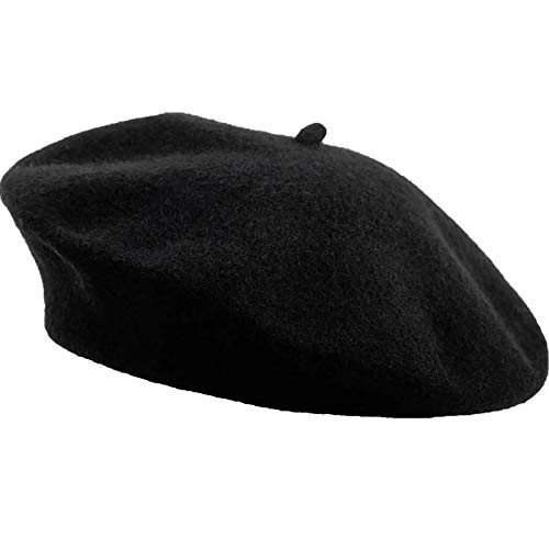 Boina Francesa,Boinas Negras de Mujer Gorro de Lana Cálido Invierno Otoño Boina Unisex Gorro para Niñas Mujeres