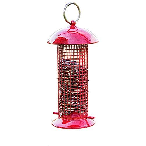 Shanado 鳥 給餌器 屋外 餌入れ 鳥の餌箱 バードフィーダー 吊下げ 鳥用 メッシュ 餌やり 掛け式 ペット食器 げタイプ 給餌器 野鳥観察 餌台 餌場 ペット用品 (赤)
