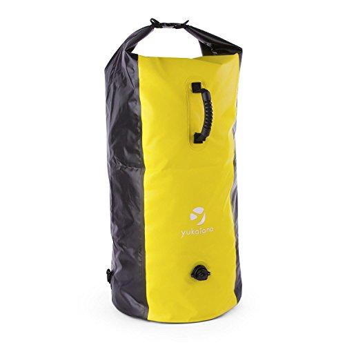 Yukatana Quintono 100 Trekking Mochila 100 litros Impermeable (Petate Viaje, Bolso Resistente Agua, Ideal Camping, excursión, Deportes acuáticos, Correas Ajustables, Cierre estanco, Negro/Amarillo)