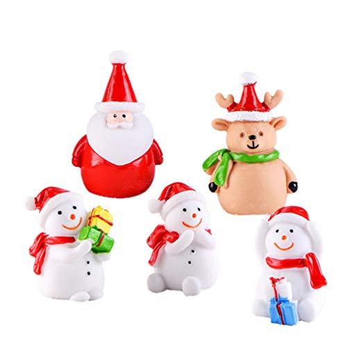 LIOOBO 21pcs set bambola in resina natalizia natale pupazzo di neve pupazzo di neve ornamenti in miniatura decorazione desktop bambola per bambini