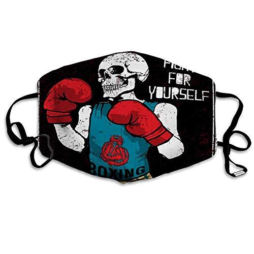 Totenkopf-Boxhandschuhe/Gesichtsbedeckung, wiederverwendbar, aus Stoff