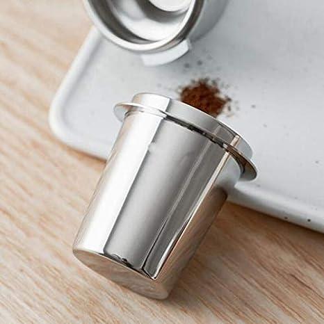 Binchil Steel Dosing Cup Coffee Sniffing Mug Powder Feeder for 54mm Espresso Machine Portafilter Coffee Tamper Silver