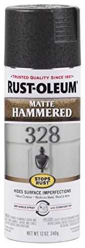 Rust-Oleum 300607 Stops Rust Hammered Spray Paint, 12 Oz, Matte Black