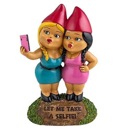 Statuine da giardino, statuette natalizie per selfie e gnomi ornamentali da giardino in miniatura
