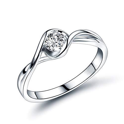 AnazoZ Anillo de Diamantes para Mujer,Anillos de Mujer de Oro Blanco 18 Kilates Plata Redondo Diamante 0.3ct Talla 15