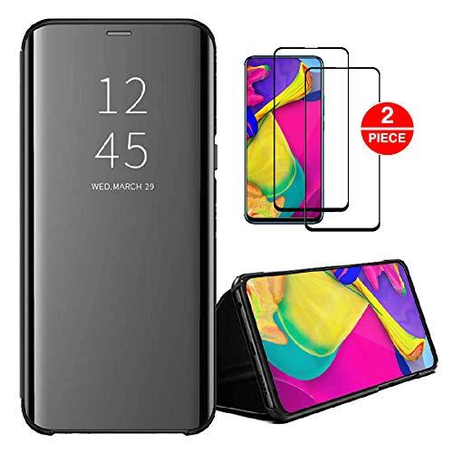 SENSBUN Funda compatible con iPhone 12 + 2 protectores de pantalla de vidrio templado transparente con tapa para iPhone 12, color negro