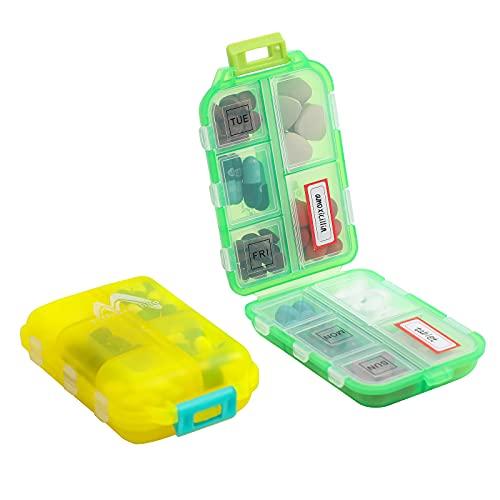2 Pack Pill case Travel Pill Organizer, Pill Box for Purse Vitamin Fish Oil 10 Compartments Container Medicine Box by M Muchengbao