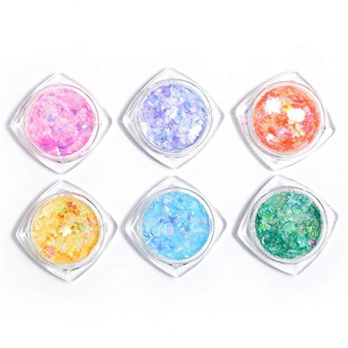 GREEN&RARE Juego de 6 botellas de purpurina con forma de corazón y mariposa, con lentejuelas, resina UV, relleno de molde epoxi para hacer joyas, bricolaje, decoración de uñas
