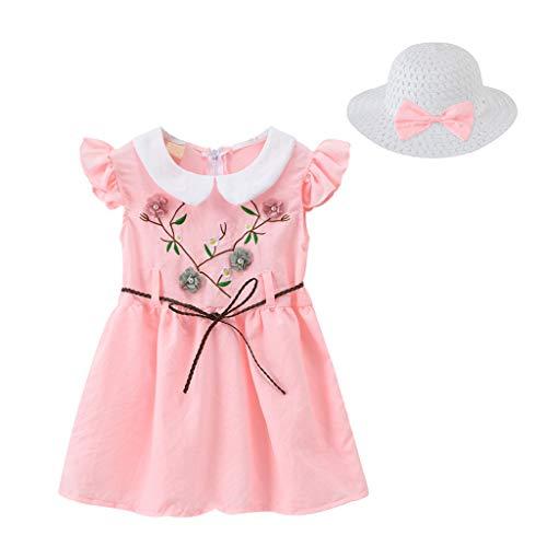 sunnymi 1-6 años niños niños niños niñas bordado flores vestido princesa sombrero paja sombrero Outfits