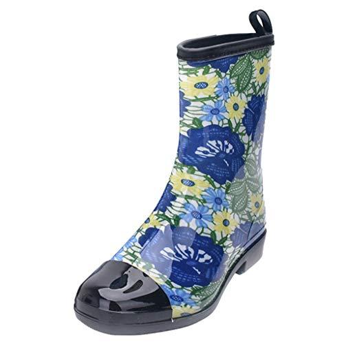 LoveLeiter Damen Gummistiefel Blume Regenstiefel Flach Kniehoch Schlupfstiefel Mode PVC Wasserdicht...