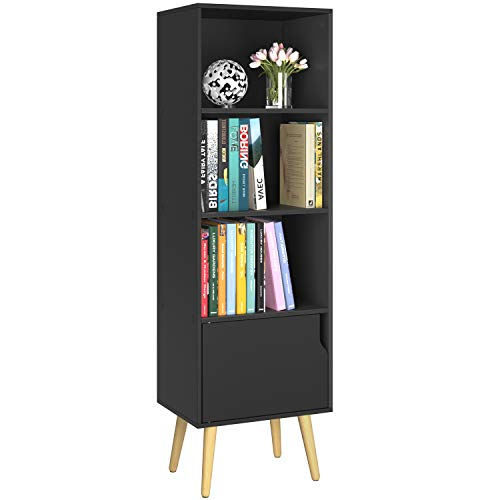 Homfa 4 Tier Floor Cabinet, Free Standing Wooden Display Bookshelf with 4 Legs and 1 Door, Side Corner Storage Cabinet Decor Furniture for Home Office, Black
