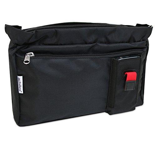 achilles Tasche in der Tasche Handtaschen-Einsatz Innen-Handtaschen Aufbewahrungs-Organizer Reißverschluss-Tasche Kosmetik-Tasche Bag in Bag Schwarz 25 x 18,5 x 6 cm