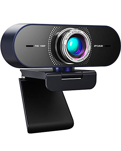 IFOAIR Full HD 1080p Webcam mit Mikrofon für PC/Mac/Laptop/Smart TV, Belichtungskorrektur Webkamera für Videoanrufe/Online-Unterricht/Konferenz/Spiele mit Skype, Zoom, FaceTime, Hangouts usw