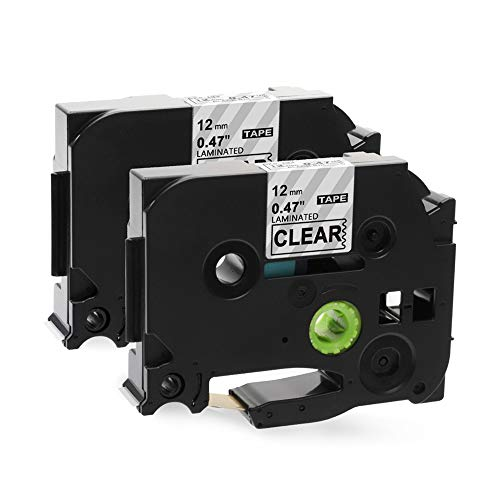 Airmall Compatible Label Tape Replacement for TZe Tape, Black on Clear, for TZ131 TZ-131 TZe-131 TZe 131, 1/2 Inch x 26.2 Feet, to use with Ptouch Label Maker PT-D210 PT-H110 PT-D400AD, 12mm x 8m