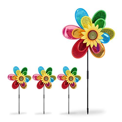 Relaxdays Pack de 4 Molinillos de Viento Forma de Flor para Jardín y Terraza, Poliéster, Multicolor, 74,5 x 37,5 x 14 cm