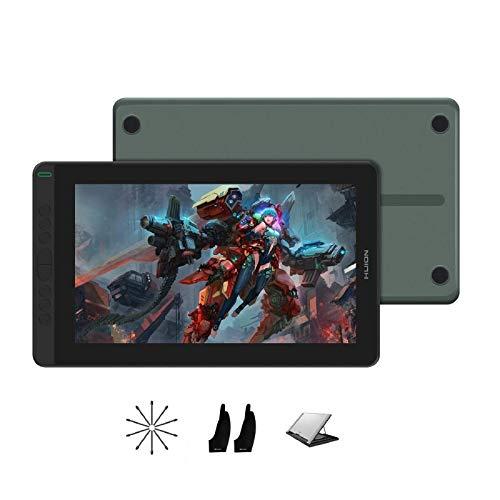 Mesa HUION Kamvas 13 2020, Android Graphics Support Drawing Monitor com tela totalmente laminada 8192 Stylus Bateria Sensibilidade à pressão de 8 teclas Express Suporte ajustável -13,3 polegadas (Verde)