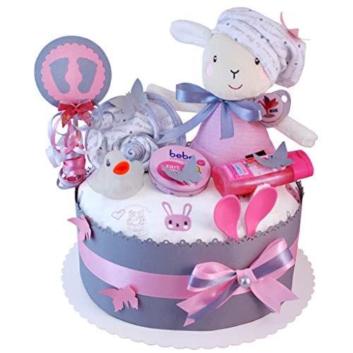 MomsStory - Windeltorte Mädchen | Schaf Spieluhr | Baby-Geschenk zur Geburt Taufe Babyshower | 1 Stöckig (Rosa-Grau) mit Baby-Spielzeug Lätzchen Schnuller & mehr