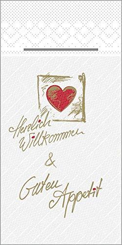 Tissue Deluxe Besteckservietten 40 x 40 cm 1/8-Falz | mit Besteckschlitz für Gastronomie und Feiern | 75 Stück | Herzlich Willkommen