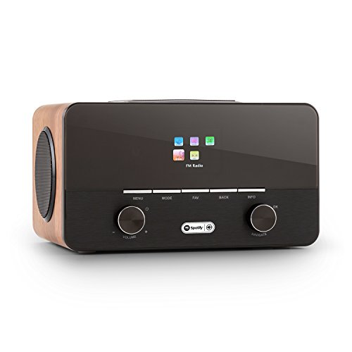 auna - Connect 150 WN, 2.1-radio internet, radio digitale, radio WLAN, Network player, Wi-Fi, LAN, connessione spotify, DAB/DAB+ / sintonizzatore UKW con RDS, Porta USB-MP3, nocciola
