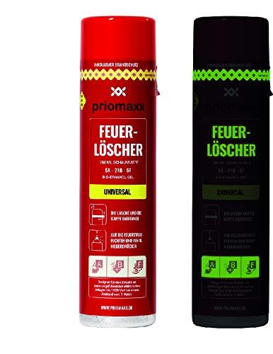 Preisvergleich Produktbild 2x Priomaxx Feuerlöscher Spray Universal,  mehr Inhalt als andere Feuerlöscher,  760 ML,  längste Löschdauer,  Glow-in-the-Dark