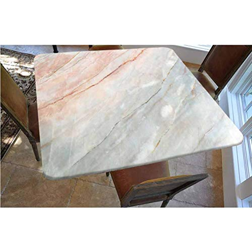 Marble Polyester Fitted Tablecloth,Onyx Stone Textured Natural Featured Authentic Scratches Artful Illustration Decorative Square Elastic Edge Fitted Table Cover,Fits Square Tables 48x48 Peach Pale G