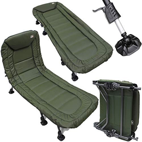 8 LEG DELTA NGT Specimen Fishing Camping Anglers Reclining Lightweight Bedchair with Pillow Bed Chair