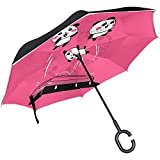 Cartoon Pan-da Trampolin Pink Inverted Double Layer Windproof Reverse Umbrella