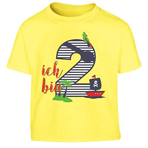 Shirtgeil Ich bin Zwei Geschenk Geburtstag Kleinkind Kinder Jungen T-Shirt 94 Gelb