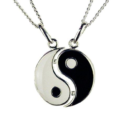HAAC 2 Freundschaftsketten Yin Yang Anhänger Echt Silber 925