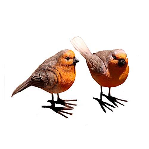 2 Pcs Robins, Wild Bird Collection, Life-like Colouring, Garden Outdoor Ornaments Decor Statue