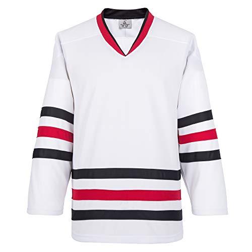 EALER H900 Series Blank Hielo Hockey Sports Jersey de práctica para Hombres y niños, Adultos y jóvenes, E009blanco, Large
