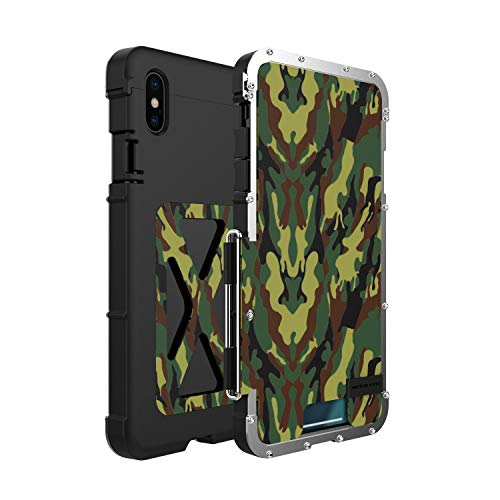 iPhone Xs Max Metal Case, R-JUST Flip Stand Heavy Duty Defender Armor Case with Full Body Protection for Apple iPhone Xs Max (Green)