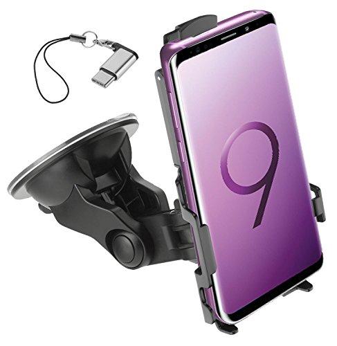 yayago KFZ smartphonehouder voor Samsung Galaxy S9+ (S9 Plus) autohouder 360 graden draaibaar inclusief USB 3.1 type-C op Micro USB-adapter