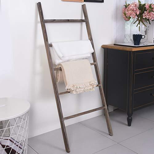 RHF 48' Blanket Ladder Rustic,Decorative Ladder Shelf,Leaning Shelf,Ladder for Bathroom, Ladder Shelf Stand, Rustic Farmhouse Wood Ladder,Ladder Shelves,Brown,No Assembly Required (4 Ft, Brown)
