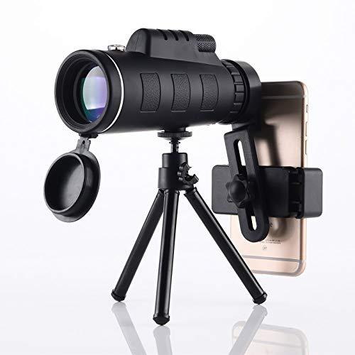 GAOXIAOMEI Telescopio monocular 40X60 Lente de cámara de Mano de Alta Potencia Impermeable HD BAK4 Prisma con Adaptador para teléfono Inteligente Trípode de contracción de aleación de Aluminio
