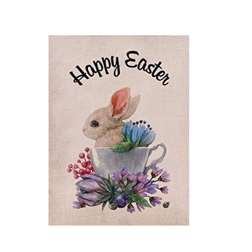 BESPORTBLE 1pc Happy Easter Garden Flagge Osterhasen Garten Banner Party Osterdekor Dekoration