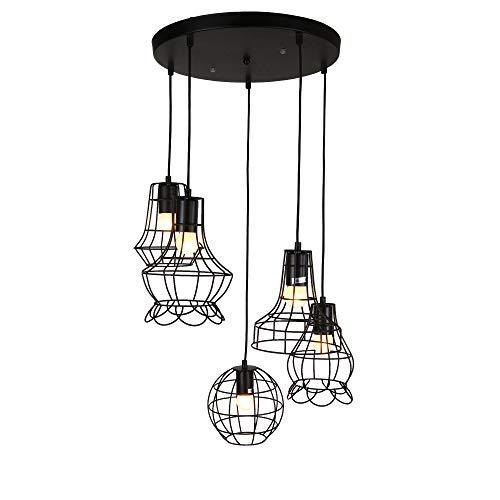 [lux.pro] Plafoniera Lampada a Sospensione 25-85 cm Lampada da Soffitto Design Vintage Lunghezza Regolabile 5 Fiamme Nero