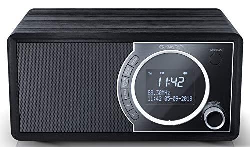 SHARP DR-450(BK) Radio Despertador con sintonizador Dab, Dab+, FM, Bluetooth 4.2, Potencia Maxima 6W, Pantalla LCD, Carcasa de Madera y Panel Frontal de Acero Inoxidable