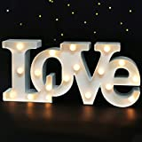 Bright Zeal 16' x 7' Large LOVE Bedroom Decor Lights LED Marquee Letters (WHITE) - LOVE Sign For Wall Table - Wedding Decorations Lights For Church - Valentines Day Decorations Lights For Office Home