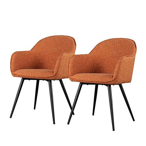Selsey Bill - Lot de 2 chaises Salle à Manger - Roux/Noir, Dossier et accoudoirs arrondis