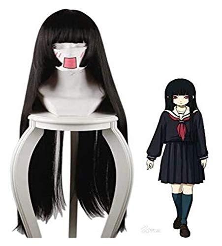 JPSOUP Anime Hell Girl Enma Ai Cosplay Costume Jigoku Shoujo Mitsuganae Largo Negro Sintético Hair Halloween Party Pelaje Pelucas