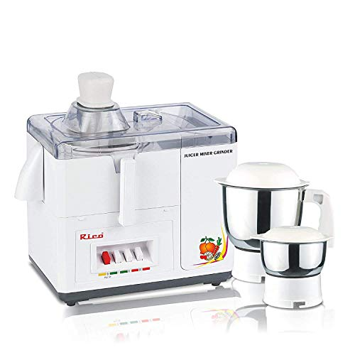 Rico Juicer Mixer Grinder with Japanese Technology | with Unbreakable Body |2 Year Warranty (White, 550 Watt) I Made in India
