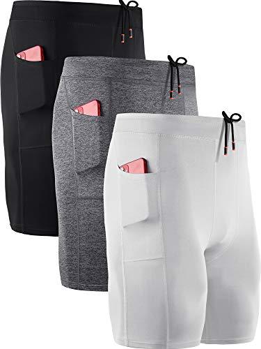 Neleus Men's 3 Pack Running Compression Shorts with Pockets,6072,Black,Grey,White,US M,EU L