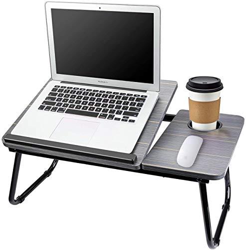 Bandeja para portátil para cama ajustable, escritorio de ordenador portátil para cama, soporte para portátil para comer, bandeja de desayuno portátil ajustable con soporte para taza