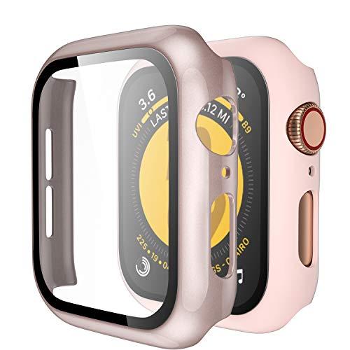 Upeak Compatible con Apple Watch Series SE 6 5 4 40mm Funda con Vidrio Templado, 2 Piezas Caja Protectora para Mujeres Hombres Compatible con iWatch 4 5 6 SE, Brillante Oro Rosa Mate Rosa