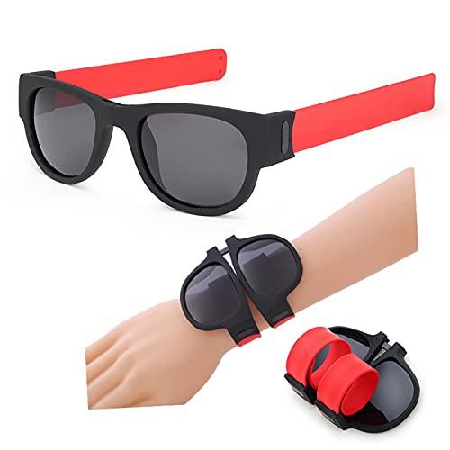 zhgzhzwlf Gafas De Sol Deportivas Plegables Gafas De Sol Polarizadas Prácticas Gafas De Conducción Gafas De Pulsera Gafas De Sol para Adultos Y Niños Adecuado para Cualquier Forma De Cara,Rojo