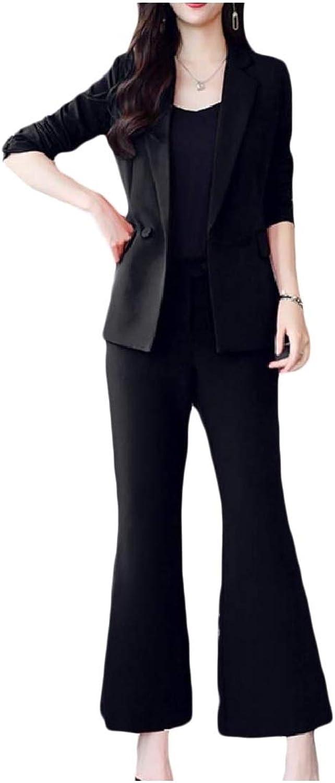Vska Women Notch Lapel Flare Double Breasted Office Jacket Pant Suit