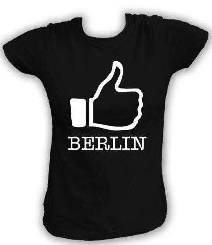 Artdiktat T-Shirt I like Berlin Damen, Größe XL, schwarz