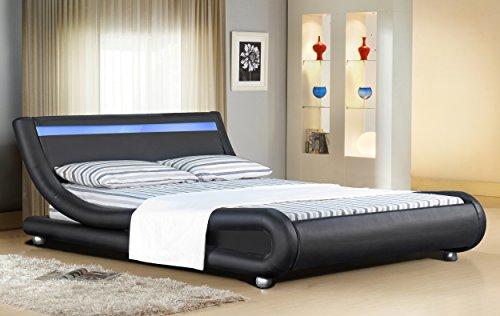 Comfy Living Faux Leather Bed Frame LED Colour Light Strip in 4ft6 Black